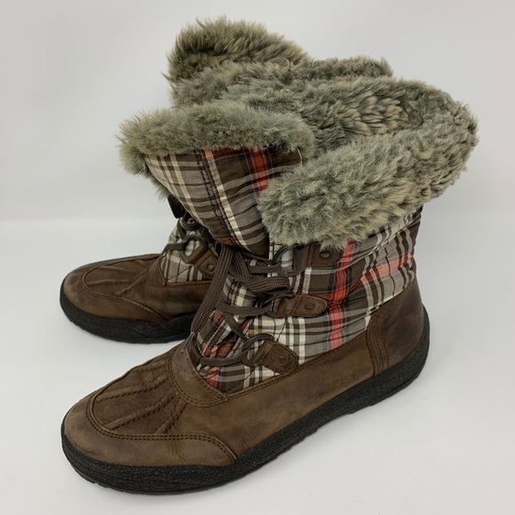 ARA Leather Plaid Winter Boots Faux Fur Gore Tex
